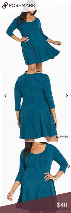 Torrid Teal Ribbed Flutted Skater Dress Very flattering and beautiful dress! Brand new! Torrid Dresses Long Sleeve
