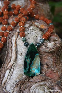 Malachite with Chrysocolla Mala from malasandmore.com $30