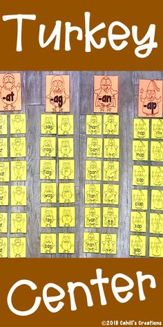 Sort the word family turkeys! Activity Centers, Literacy Centers, Saag, Word 3, Picture Cards, Word Families, First Grade, Teaching Ideas, 3 D
