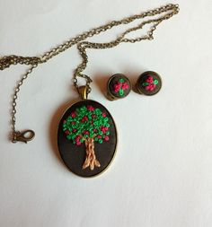 Tree of Life Necklace Flower clip on Earrings by RedWorkStitches