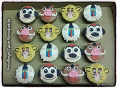 Lion King cupcake topper set @ R45 per set of 4 characters.  For more info & orders, email SweetArtBfn@gmail.com or call 0712127786, WhatsApp 0646446495 Lion King Cupcakes, Edible Cake, Cupcake Toppers, Fondant, Icing, Cake Decorating, Characters, Food, Animals