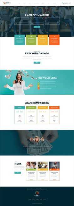 CashGo is clean and modern design #PSD template for fast #loan financial #company website with 18+ layered PSD pages download now..