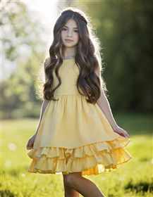 """Easter dress for girls from My Little Jules""  Persnickety Clothing - Daffodils & Dandelions Adeline Dress in Yellow"