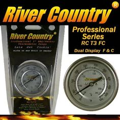 "3"" River Country Dual Display Range Adjustable BBQ, Smoker, Thermometer, (50 to 550 F & 10 to 285 C) by River Country. $17.97. Professional all stainless steel construction. Easy mounting with complete instructions and hardware. Shows exact temperature (50-550 Degrees F and 10-290 C). 3"" Easy to Read Dual Display Range Dial w/ 2 1/2"" Stem. Calibration Adjustment for Accuracy. Is your Old Barbecue Thermometer worn out, broken, or lost its accuracy? Are you looking to install a th..."