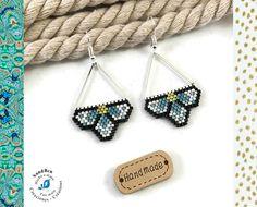 Idée Cadeau Fête des Mères Boucles d'Oreilles Fleurs Printanières Tissage Perles Miyuki Japonaises Légères Bleues Argent Femme Pendantes