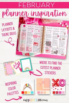 February Planner Inspiration - Easy Crafts 101 S Planner, Cute Planner, Planner Layout, Happy Planner, Valentine's Day Printables, Printable Planner Stickers, Diy Stickers, Types Of Planners, Day Planners