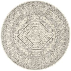 Varick Gallery Sirena Ivory/Silver Area Rug Rug Size: Round 6'