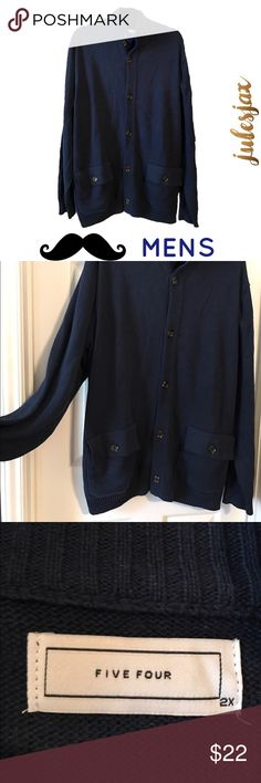 NWOT navy blue men's thick cardigan jacket xxl Brand is Five Four.  This hasn't been worn or washed, still has extra button tag attached. Five Four Sweaters Cardigan