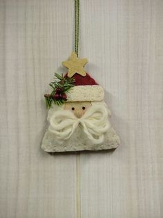 Santa tree ornament.  Could make a tiny one for a bag charm.