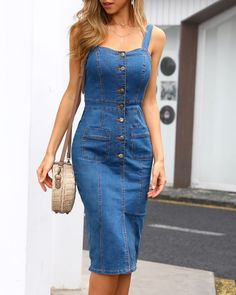 Single Breasted Slit Front Overall Denim Dress buying fashion dresses & rapid delivery. Trendy Dresses, Plus Size Dresses, Cute Dresses, Casual Dresses, Denim Dresses, Blue Jean Dresses, Elegant Dresses, Sexy Dresses, Summer Dresses