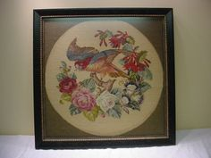 Victorian Needlepoint Vegetable Dye Wool Bird on Branch with Roses