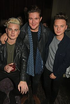 Jack and Conor Maynard and Michael Pearce attend the Ibiza Rocks the Box Christmas Party at The Box Soho on December 8 2015 in London England