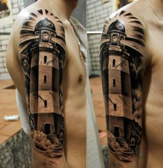 "Lighthouse tattoo by Pavel Roch With a banner that says Matthew 5:16! And one that says ""Reaching the Lost with Love"" :D :D :D :D :D"