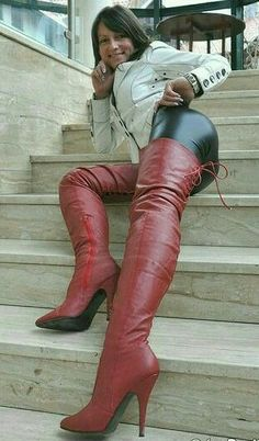 Red Leather Thigh Boot with with lacing at the rear and 5 inch Stiletto Heel. Thigh high boots with stiletto heels from Pleaser Shoes. High Leather Boots, Black Heel Boots, Sexy Boots, Thigh High Boots, High Heel Boots, Jennifer Aniston Legs, Crotch Boots, Leder Boots, Sexy Stiefel
