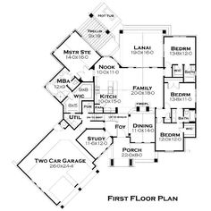 First Floor Plan of Cottage Craftsman French Country House Plan 75134 Needs a few changes but a good overall plan and beautiful on the outside! Basement House Plans, Lake House Plans, House Plans One Story, Ranch House Plans, New House Plans, Walkout Basement, Garage House, Craftsman Ranch, Craftsman Style House Plans
