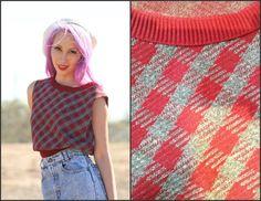 Vintage 70s Plaid Sweater Vest  Knit Top school by Foxygalsvintage