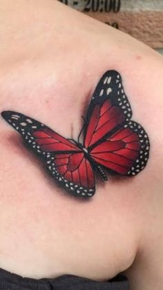 Chest Tattoo Butterfly, Realistic Butterfly Tattoo, Colorful Butterfly Tattoo, Butterfly Tattoos For Women, Butterfly Tattoo Designs, Red Butterfly, Butterfly Images, Tattoos 3d, Cover Up Tattoos