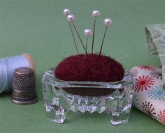 Antique Glass Salt Cellar Felted Maroon Pin by AlleghenyPlum, $16.00