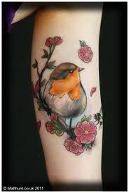 Robin and flowers Tattoo
