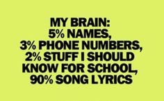 My brain but instead take out phone numbers and have 6% Names and 3% stuff I know for school