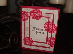 Hand Stamped Card  Thanks for being a friend by StitchesandStamps, $2.00