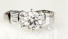 Round Diamond center set in platinum Round Diamond Engagement Rings, Round Diamonds, Beautiful Things, Jewlery, Wedding Rings, Weddings, Jewerly, Schmuck, Jewelry