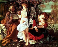 Riposo durante la fuga in Egitto. Dipinto a olio su tela di dimensioni 135,5×166,5 cm. Datato 1596,è conservato nella Galleria Doria Pamphilj di Roma.