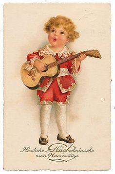Euro Ellen Clapsaddle - Singing Boy with Guitar