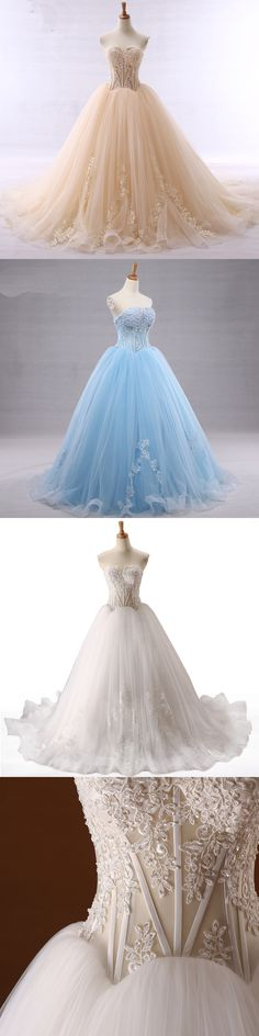 Long Sleeve Lace Wedding Dresses Ball Gown Tulle Sequin Beaded ...