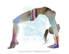 "Yoga Art, ""UPWARD BOW POSE - Small, Yoga Wall Art, Yoga Pose, Yoga Artwork, Yoga Print, Yoga Studio Artwork, Giclée, Contemporary Yoga Art"