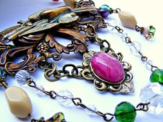 Vintage Assemblage Necklace Red Green Vintage by Sweetystuff, £65.00
