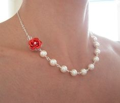 Red Rose Princess Necklace by CrystalBlue07 on Etsy, $32.50