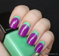 What do you think of this reverse French. color blocking look? #mani #pedi #manicure #pedicure #nails #french #color_block