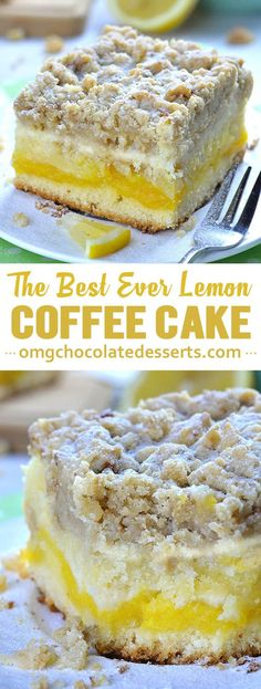 Coffee Cake Lemon Coffee Cake is delicious, moist, sweet and tangy breakfast or snack cake, but also very satisfying dessert. Bursting with lemon flavor, this coffee cake is perfect spring and summer treat.Delicious Delicious may refer to: Lemon Desserts, Lemon Recipes, Easy Desserts, Delicious Desserts, Dessert Recipes, Yummy Food, Lemon Cakes, Healthy Food, Lemon Cake Bars