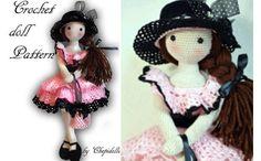 Вязаная крючком кукла в черной шляпке. Схема