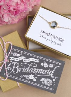 Thank your girls for being by your side on your special day with this bracelet and thank you for being my bridesmaid gift tag.