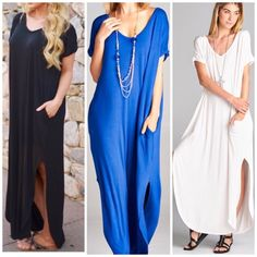 Restocked NEW COLOR 2 pocket Side Slit Maxi Dress Nwot best selling style you will want more colors . Rayon and spandex . Made in USA . Slouchy oversized maxi dress meant to be loose . Large will fit plus size to 16 . back pleated details.  Colors are Ivory - royal blue and black . Since large fits XL listing as XL too for search purposes . Size down if you like less oversized look . This listing is for Royal blue Vivacouture Dresses Maxi