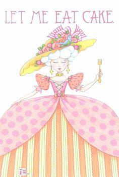 Let Me Eat Cake Greeting Cards (set of - Mary Engelbreit Birthday Greetings, Birthday Wishes, Happy Birthday, Mary Engelbreit, Card Envelopes, Blank Cards, Eat Cake, Illustrators, Whimsical