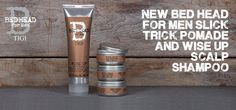 Tigi Bed Head For Men New Slick Trick Pomde & Wise Up Scalp Shampoo.