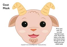 Goat Mask Printable and many more animal masks Animal Masks For Kids, Mask For Kids, New Year's Crafts, Baby Crafts, Infant Crafts, Craft Activities For Kids, Preschool Crafts, Goat Mask, New Year Printables