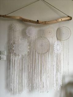 Décoration bohème naturelle Attrapes rêves dentelle crochet Tête de lit Dreamcatcher