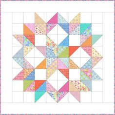 Starflower Quilt Block Tutorial – Block of the Month 2015 – Page 2 – Simple Sewing Projects Big Block Quilts, Star Quilt Blocks, Star Quilts, Scrappy Quilts, Mini Quilts, Patchwork Quilting, Hand Quilting, Quilting Tutorials, Quilting Projects