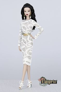ELENPRIV white lace dress for Fashion royalty FR2 NuFace Color Infusion Silkstone Barbie and similar body size dolls. by elenpriv on Etsy