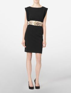 Luxe Stretch Matte Woven Belted Dress by Calvin Klein (I've always had a thing for CK shift dresses.)