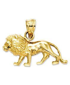 Totally fierce. This petite lion charm features an intricate, carved design and shows how courageous you can be! Crafted in 14k gold. Chain not included. Approximate length: 3/5 inch. Approximate widt