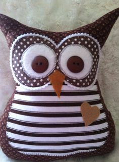 Brown and white Striped Stuffed Owl by ArtworkbyLauraHill on Etsy, $27.00