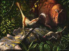 Acheroraptor temertyorum (terópodo dromaeosáurido del Cretácico, 66MA) (Julius Csotonyi)