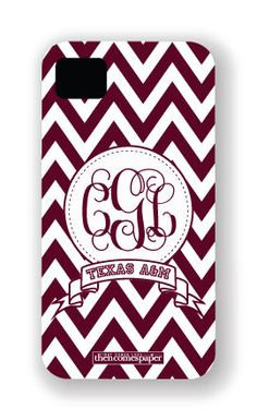 Texas A Aggies Personalized iPhone Case, Cover, Shell - Chevron Monogram Banner. $45.00, via Etsy.