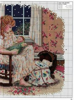 """""""Just Like Mommy ~ A Mother's Love"""" cross stitch pattern by Paula Vaughan"""