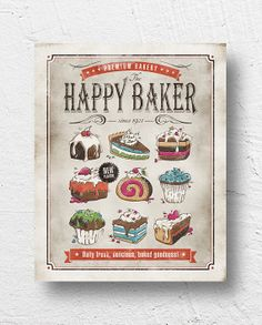 "Retro kitchen art / bakery, cake print, kitchen wall art / ""The Happy Baker"" / Bakery Decor, Bakery Sign, Bakery Ideas, Kitchen Posters, Kitchen Themes, Kitchen Decorations, Kitchen Ideas, Kitchen Design, Arts Bakery"